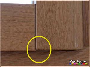 Abb. 3 | nachträglich entstandener Versatz zwischen senkrechtem und waagerechtem Rahmenholz