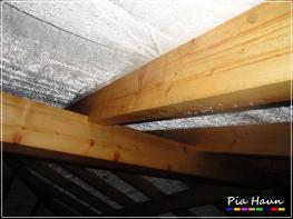 Winterbaustelle, durch die fehlende Dachluke sind große Mengen an Neubaufeuchte in den Dachraum geströmt, Kondensatbildung.
