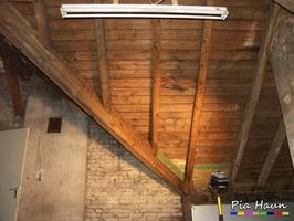 Wohn- und Geschäftshaus in Saarbrücken | Begutachtung der Dachkonstruktion auf Holz zerstörende Insekten und Pilze  | Untersuchung auf Holzschutzmittel, Foto: © Ingenieurbüro Pia Haun - Trier