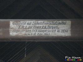 aufgemalte Dachkarte mit Hinweise auf eingesetzte Holzschutzmittel, Foto: © Ingenieurbüro Pia Haun - Trier
