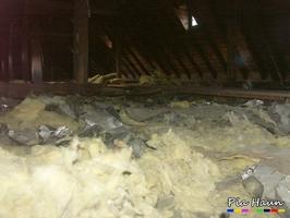 PAK-haltige Dachpappe und krebserzeugende KMF im Dachraum, Foto: © Ingenieurbüro Pia Haun - Trier